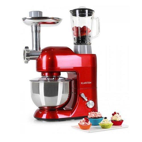 Červený kuchyňský robot Klarstein Lucia Rossa má výkon 1200W a moderní design
