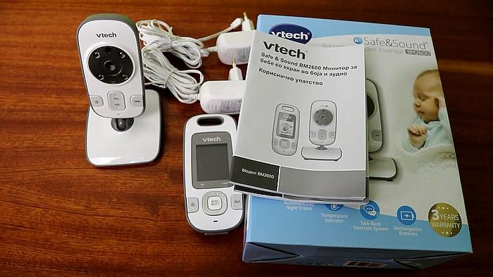 Obsah balení video chůvičky Vtech BM2600