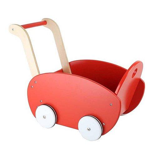 Malý dřevěný kočárek pro panenky Legler - červený