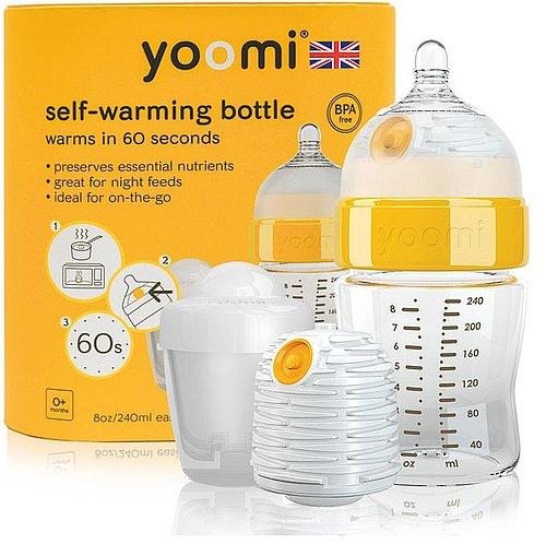 Yoomi 3 v 1 lahev + ohřívačka + nabíječka na ohřívač žlutá 240 ml