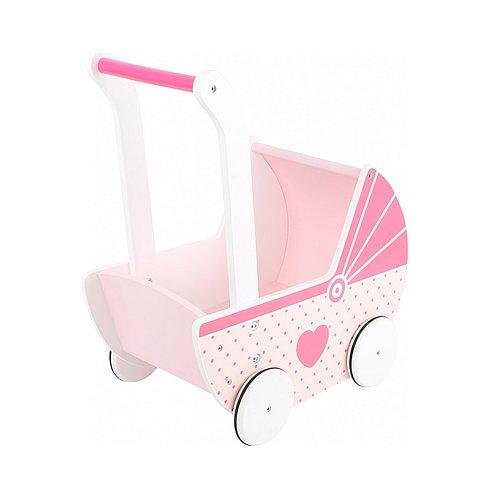 Dřevěný kočárek pro panenky Legler Small Dream růžový