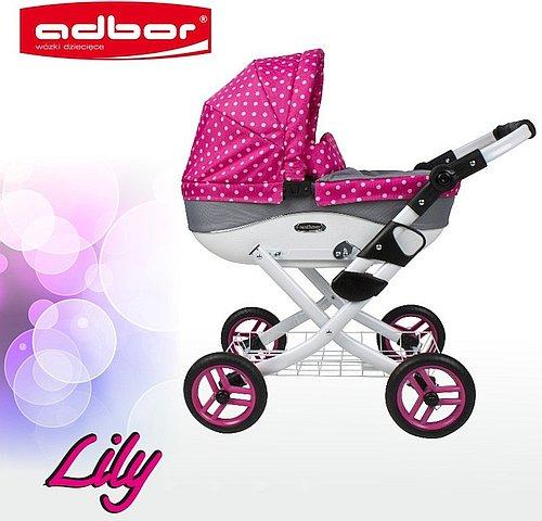 Hluboký kočárek pro panenky Adbor Lily v růžovo-šedé kombinaci