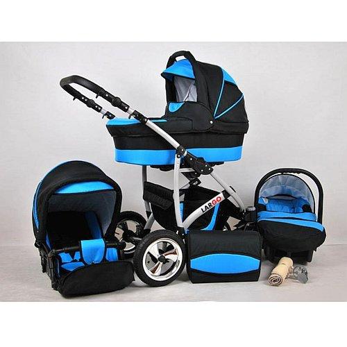 Kočárek Raf-Pol Baby Lux Largo Black Aqua s nafukovacími kolečky
