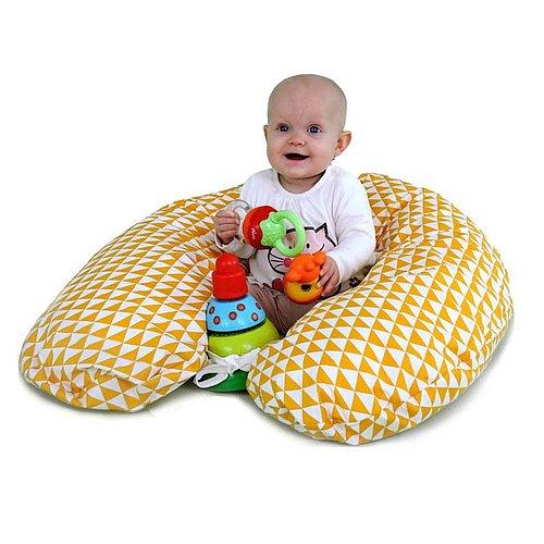relaxační polštář GADEO Vintage Yellow ve tvaru podkovy vhodný k relaxaci v těhotenství