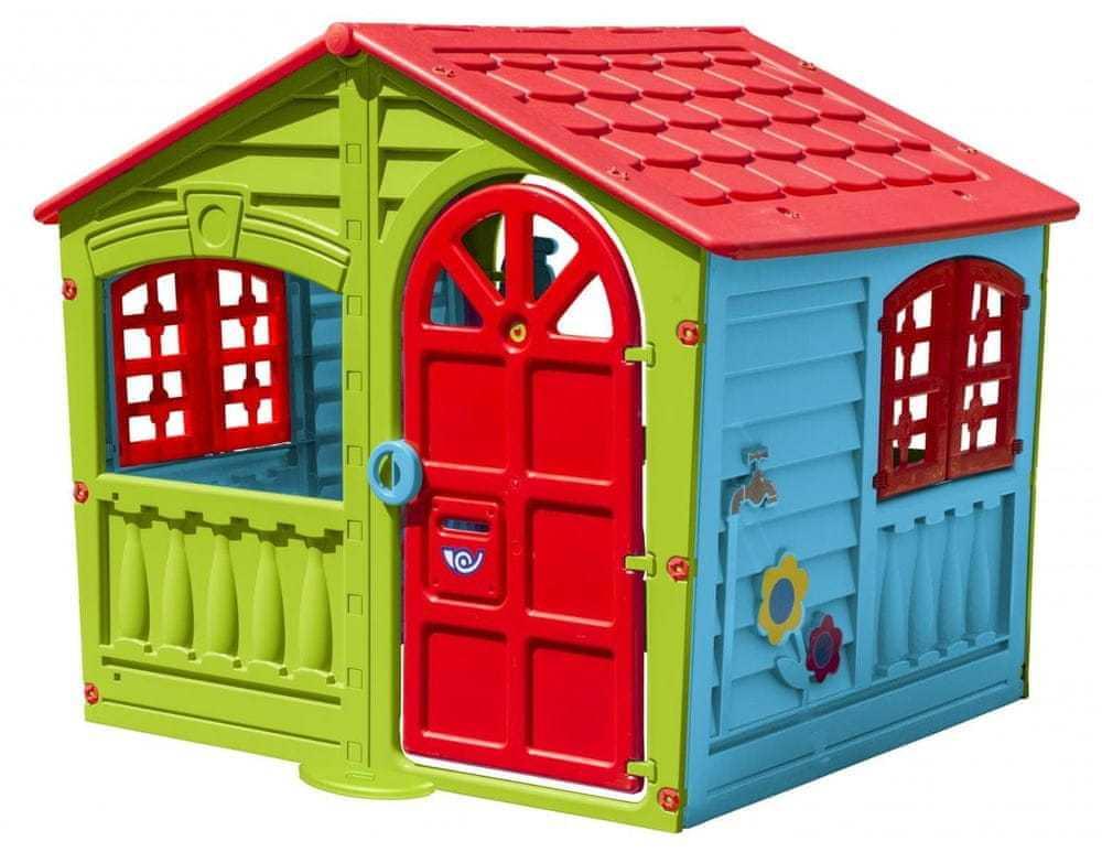 Veselý barevný dětský domeček na zahradu s funkčními dveřmi a okny HAPPY  PalPlay