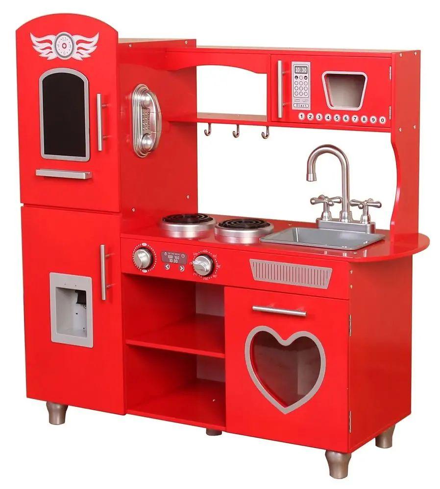 Bino Kuchyňka červená dřevěná