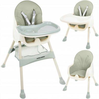 Kruzzel 12059 3v1 je bezpečná jídelní židle pro děti